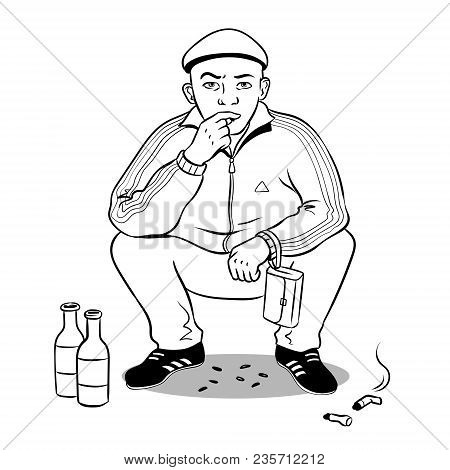 Gopnik Russian Hooligan Man Coloring Retro Vector Illustration. Isolated Image On White Background.