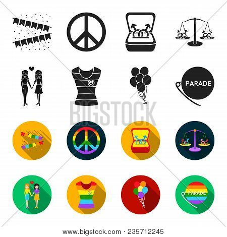 Lesbians, Dress, Balls, Gay Parade. Gay Set Collection Icons In Black, Flet Style Vector Symbol Stoc