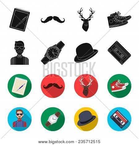 Hipster, Fashion, Style, Subculture .hipster Style Set Collection Icons In Black, Flet Style Vector