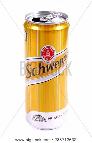 Novyy Urengoy, Russia - April 4, 2018: Opened Aluminium Can Of The Schweppes Drink Isolated Over Whi