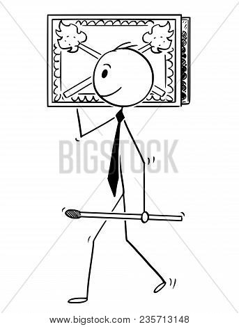 Cartoon Stick Man Drawing Conceptual Illustration Of Businessman Carry Big Matchbox Or Box Of Matche