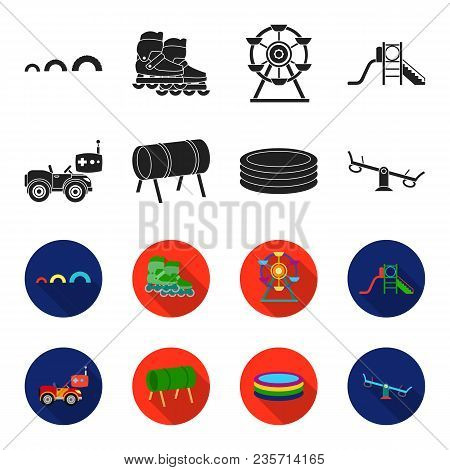 Machine For Radio Control, Tunnel, Trampoline, Swing. Playground Set Collection Icons In Black, Flet
