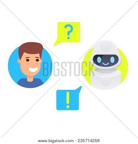 Man Chatting With Chat Bot. Asking Question, Getting Solution. Vector Colorful Cartoon Illustration