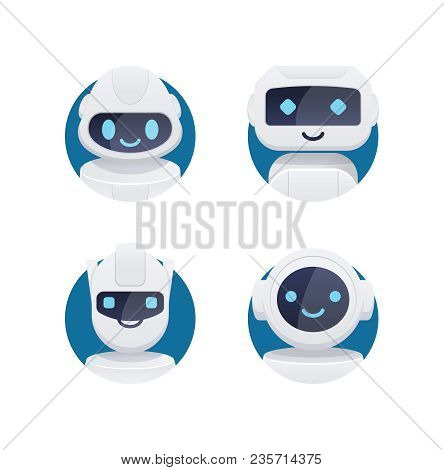Future Chat Bot Set. Robot Icons With Blue Cute Eyes And Smiles Isolated In Circle. Flat Vector Illu