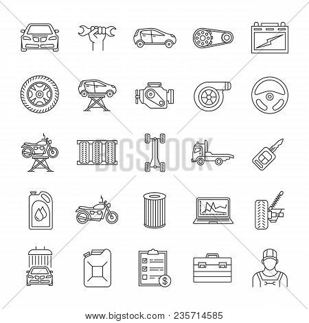Auto Workshop Linear Icons Set. Car Service. Instruments, Equipment And Spare Parts. Thin Line Conto