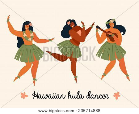 Hawaiian Hula Dancers Young Pretty Woman. Vector Illustration.