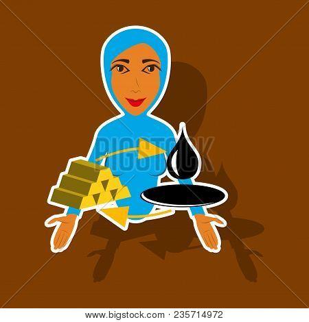 Realistic Paper Sticker On Theme Arabic Business Arab Woman