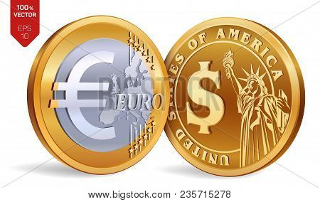 Euro Isometric Physical Golden Coins With Dollar And Symbol American Money European Vector Ilration
