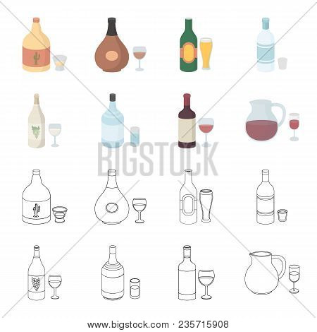 White Wine, Red Wine, Gin, Sangria.alcohol Set Collection Icons In Cartoon, Outline Style Vector Sym