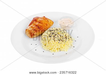 Steak From Chicken, Pork, Grilled Meat, Barbecue With Side Dish, Potato On A Plate Isolated White Ba