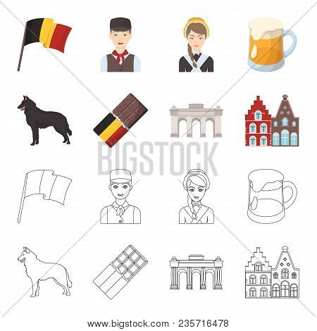 Chocolate, Cathedral And Other Symbols Of The Country.belgium Set Collection Icons In Cartoon, Outli