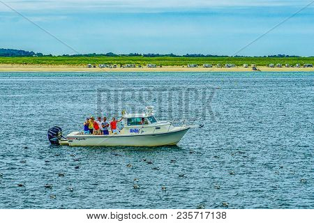 Provincetown, Cape Cod, Massachusetts, Us - August 15, 2017 Boat And His Crew Looking For A Whale