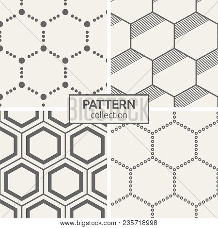 Set Of Four Seamless Patterns. Abstract Trendy Vector Backgrounds. Modern Stylish Textures Of Hexago
