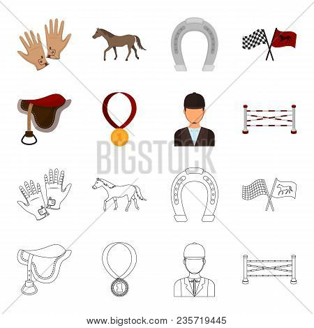 Saddle, Medal, Champion, Winner .hippodrome And Horse Set Collection Icons In Cartoon, Outline Style