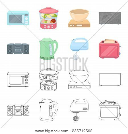Electric Kettle, Music Center, Mixer, Toaster.household Set Collection Icons In Cartoon, Outline Sty