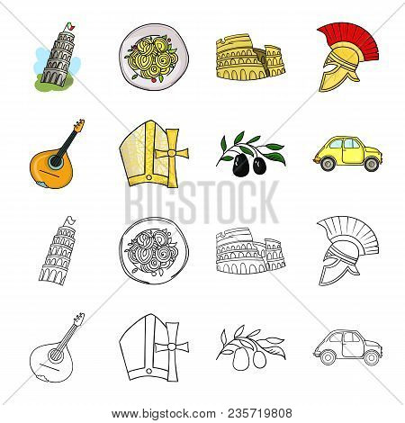 Mandolin, Papa, Olive, Retro Auto.italy Country Set Collection Icons In Cartoon, Outline Style Vecto