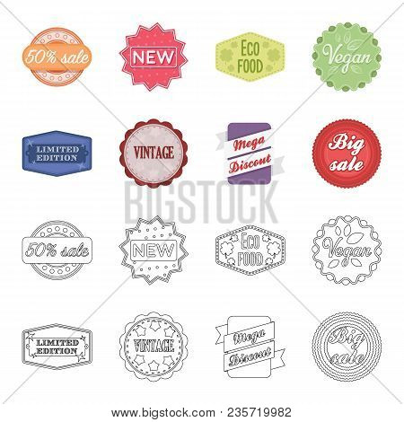 Limited Edition, Vintage, Mega Discont, Dig Sale.label, Set Collection Icons In Cartoon, Outline Sty