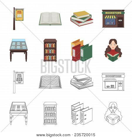 Library And Bookstore Cartoon, Outline Icons In Set Collection For Design. Books And Furnishings Vec