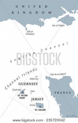 Channel Islands Political Map. Crown Dependencies Bailiwick Of Guernsey And Bailiwick Of Jersey With