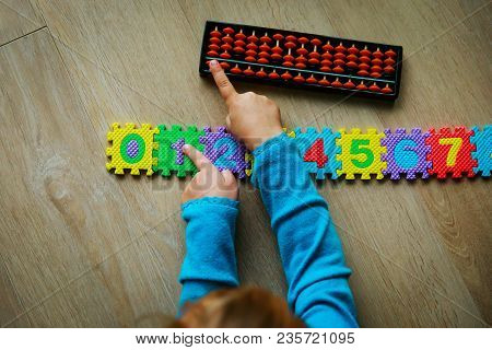 Little Girl Learning Numbers, Mental Arithmetic, Abacus Calculation