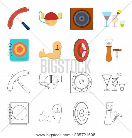 Menu, Armor With Tattoo, Darts, Corkscrew And Opener.pub Set Collection Icons In Cartoon, Outline St