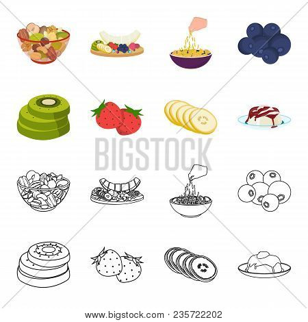 Fruits And Other Food. Food Set Collection Icons In Cartoon, Outline Style Vector Symbol Stock Illus