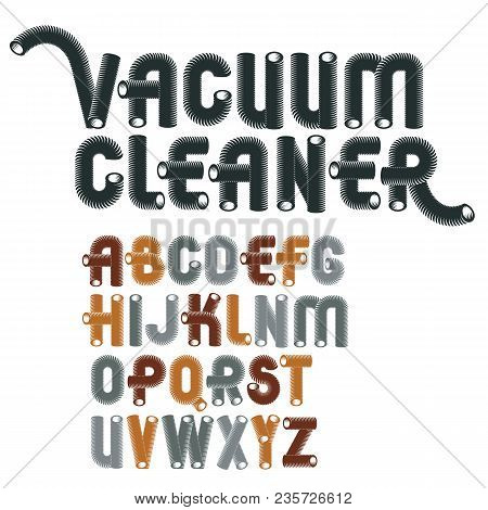Set Of Cool Vector Upper Case English Alphabet Letters Isolated. Trendy Rounded Font, Script From A