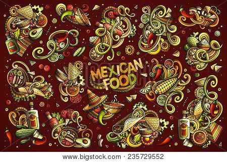 Colorful Vector Hand Drawn Doodles Cartoon Set Of Mexican Food Combinations Of Objects And Elements