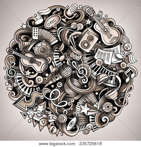 Cartoon Vector Doodles Music Illustration. Monochrome, Detailed, With Lots Of Objects Background. Al