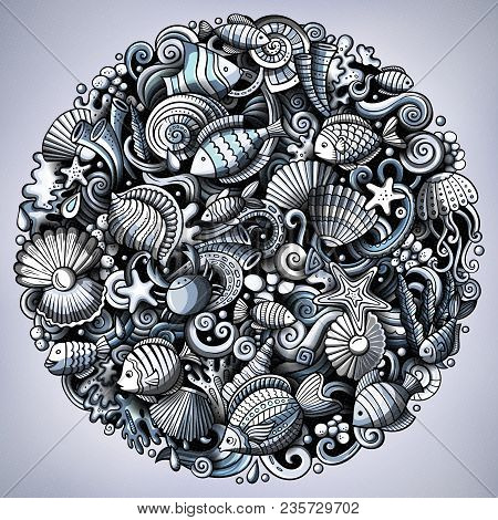 Cartoon Vector Doodles Underwater World Illustration. Monochrome, Detailed, With Lots Of Objects Bac