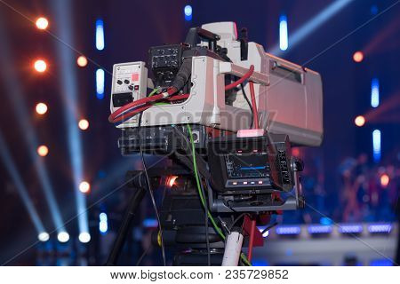A Large Video Camera For Filming Events For A Mobile Tv Studio