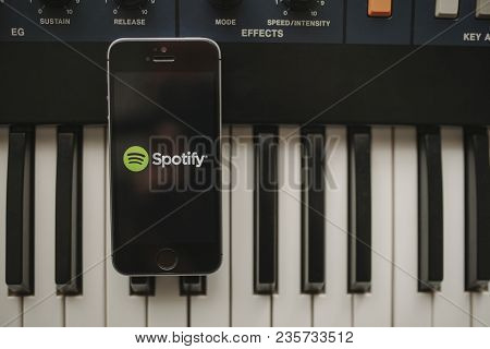 Malaga, Spain - April 12th, 2018: Spotify Streaming Music App In An Iphone Screen, Placed On A Vinta