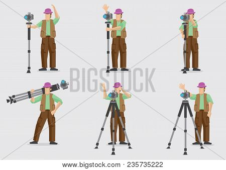 Set Of Six Vector Illustration Of A Cartoon Photographer Doing His Work With His Photography Equipme