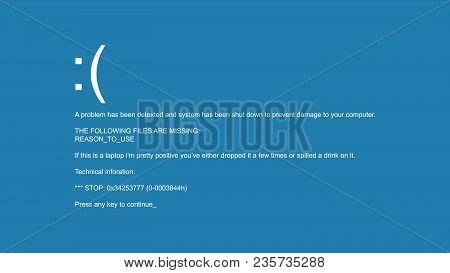 Blue Screen Of Death Vector. Bsod. Fatal Driver, Critical Memory Computer 404 Error. Incompatible De