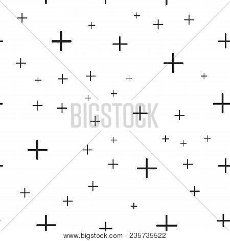 Math Symbol Pattern. Mathematic Geometric Seamless . Abstract Background From Plus Signs. On White B