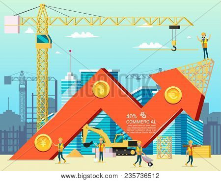Arrow Stock Trade Graph Of Housing Cost. Construction New Building In City. Vector Illsustration Of