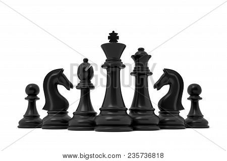 3d Rendering Of A Chess Black King Stands In The Center Of Other Lesser Black Pieces On A White Back