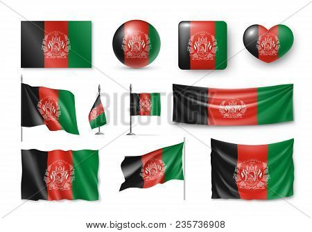 Set Afghanistan Flags, Banners, Banners, Symbols, Flat Icon. Vector Illustration Of Collection Of Na