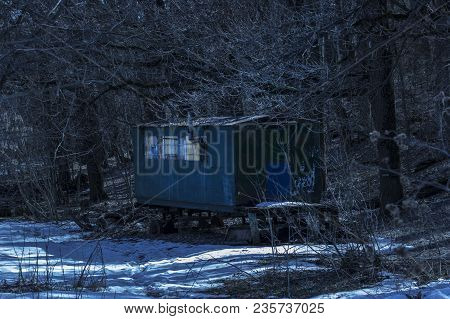 Mysterious Caravan In A Dark Night Forest Is Breathtaking And No One Around Only Tall Trees