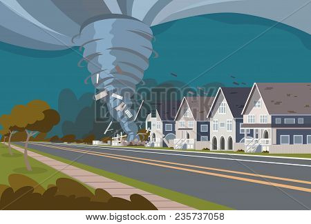 Swirling Tornado In Village Destroy Houses Hurricane Danger Huge Wind Waterspout Storm Natural Disas