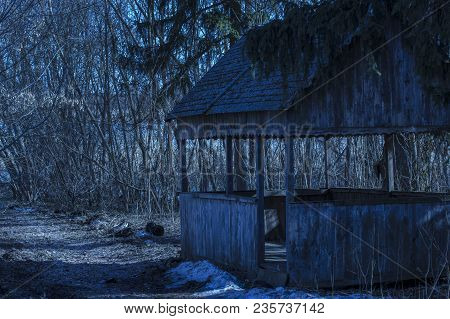 Mysterious Wooden Gazebo In The Evening Forest Nobody Around Is Breathtaking And Beautiful