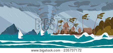 Tornado Incoming From Sea Hurricane In Ocean Huge Waves On Houses On Coast Tropical Natural Disaster