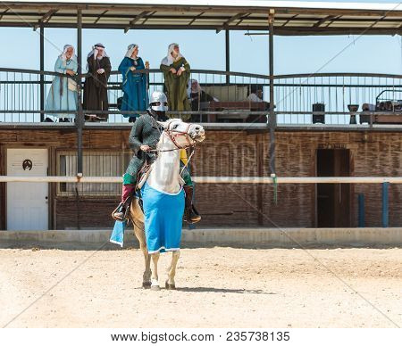 Goren, Israel, April 06, 2018 : The Mounted Knight Is Preparing To Be Shown At The Knight Festival I