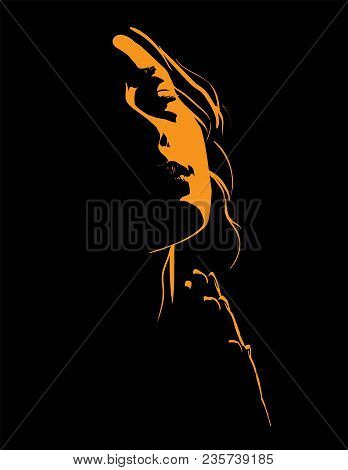 Beautiful Woman Praying. Portrait. Silhouette In Backlight. Vector Illustration