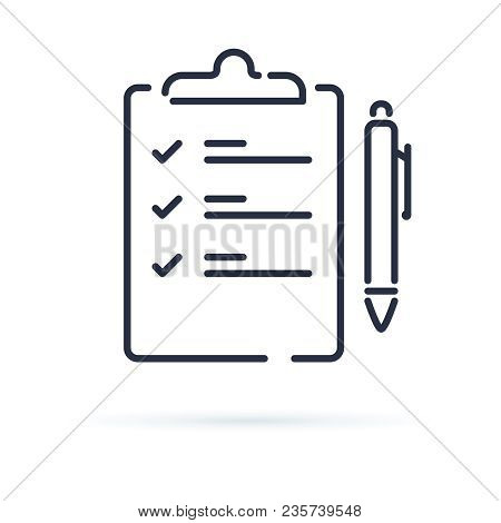 Quiz Vector Icon Isolated On White Background. Contract With A Pen Illustration. Business Agenda Or