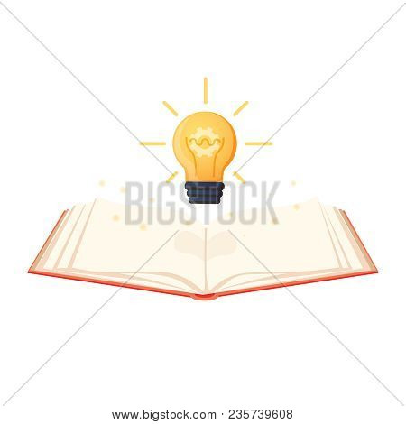 Open Book With Shining Bulb Flying Out. Flat Icon Isolated On Powder White Background. Flat Icon. Ve