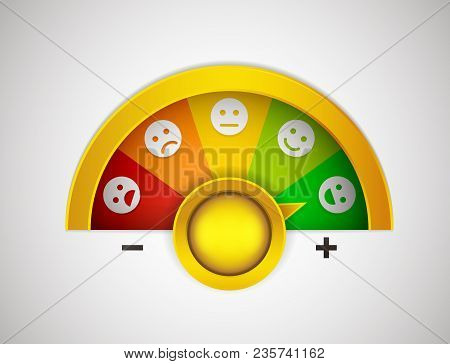 Customer Satisfaction Meter With Button, Arrow And Emotions That Go From The Most Negative To The Mo