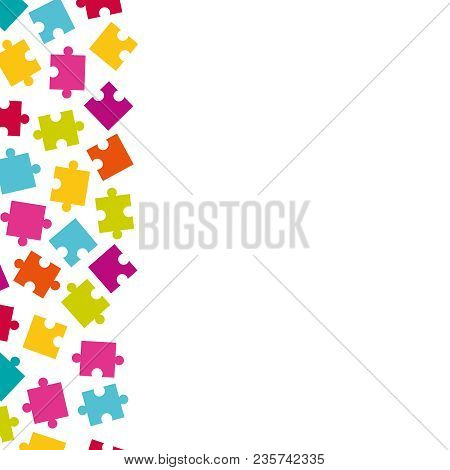 Vector Vertical Border Of Colorful Jigsaw Puzzle Pieces. Frame Of Colorful Puzzle Pieces.