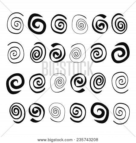 Hand Drawn Spirals In Different Forms Black On White Font