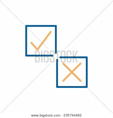 Tick And Cross On A Square Box Vector Thin Line Icons